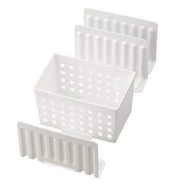 スライドできる!冷凍庫スタンド STK-01 (ボックス1個・仕切り3枚) ホワイト